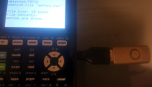 MateoConLechuga demonstrating connecting a USB flash drive to a TI-84 Plus CE