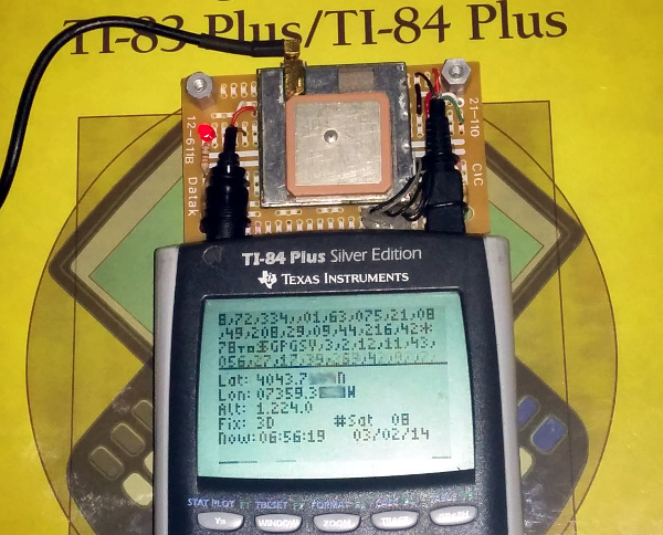TI-84 Plus Silver Edition GPS module successfully reading GPS information from satellites
