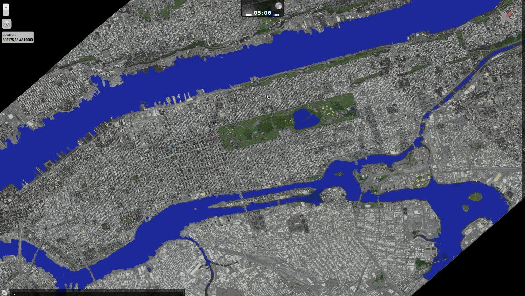Current rendering of 1:1 terrain model of Manhattan from SparseWorld