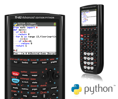 TI-82 Advanced Edition Python front and side view