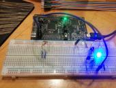 Testing one of nine RGB LEDs