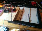 6 of 9 RGB LEDs mounted in Whack-a-Mole board