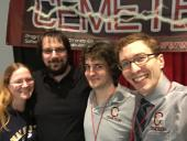 At the Cemetech booth with Carolyn, Jon, and Thomas.