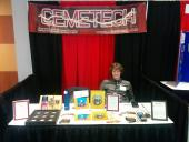 Thomas (elfprince13) mans the Cemetech booth at T^3 2016.